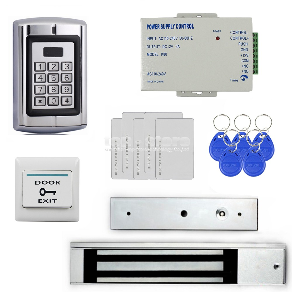 DIYSECUR 280KG Magnetic Lock 125KHz RFID Reader Password Metal Keypad Access Control System Security Kit BC2000 diysecur 280kg magnetic lock 125khz rfid password keypad access control system security kit exit button k2