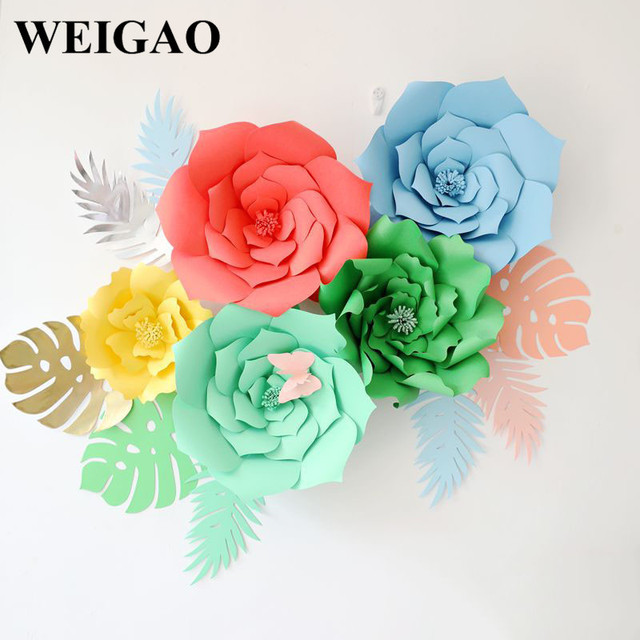 WEIGAO 1Pcs 30/40cm DIY Artificial Paper Flowers Wedding Decoration Rose Flower Girl First Birthday Mariage Event Party Supplies 1