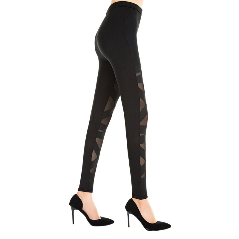 Fashion Black Leggings Mesh <font><b>Womens</b></font> Leggins <font><b>2018</b></font> <font><b>Sexy</b></font> Halloween Gothic Legging Slim Punk Rock Elastic Bandage Femme <font><b>Pants</b></font> image