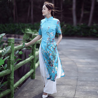 Brand Women Clothes National Dress China Style Slim Waist Cotton Printing Wind Cheongsam Dress Suit Fashion