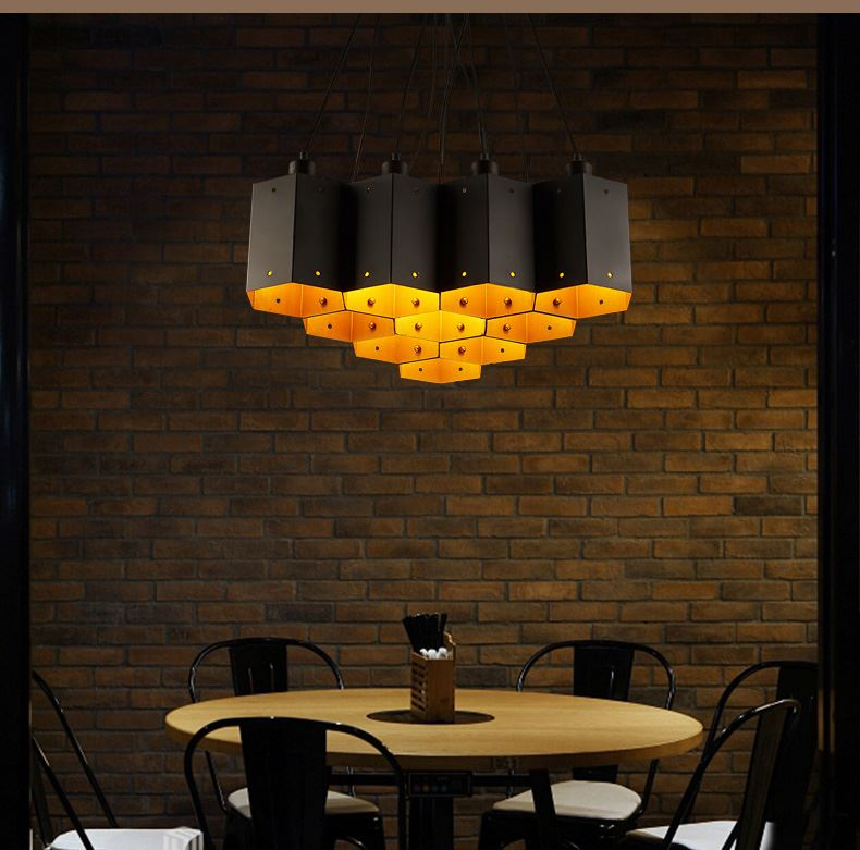 A1 Loft industrial wind Pendant lamp retro Restaurant Bar Cafe creative clothing store special cellular iron Art Pendant Lights cafe cellular automata fuzzy engine