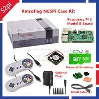 52Pi Retroflag NESPI Case With Raspberry Pi 3 32G Card Fan 2pcs SNES Gamepad Power Adapter