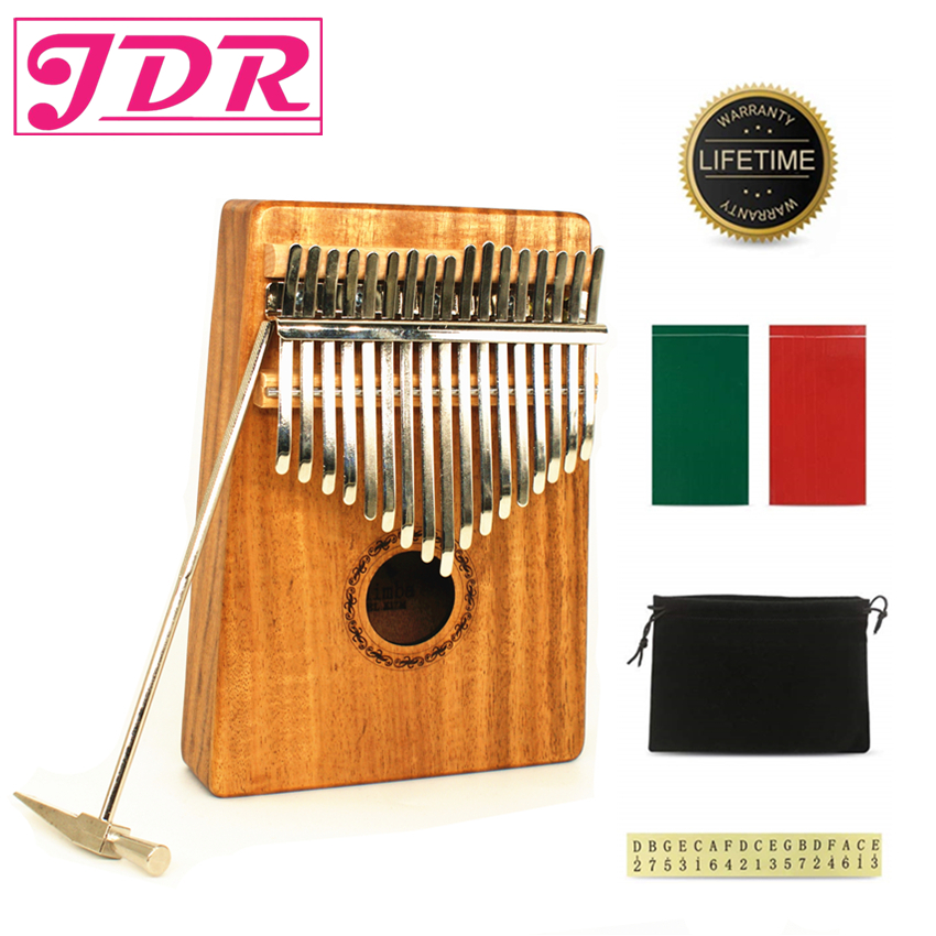 JDR 17 Schlüssel Finger Kalimba Mbira Sanza Daumen Klavier Anfänger Tasche Tastatur Musik Marimba Erz Metall Acacia Holz Musical Instrument