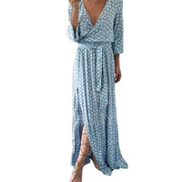 KANCOOLD dress Women's clothing Long Sleeve summer dress V Neck Printed Long Maxi With Belt female 2JUN7