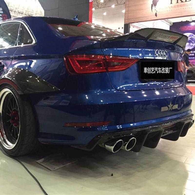 Para Audi A3 S3 RS3 2014-2018 de alta calidad R fibra de carbono ala trasera del alerón del techo maletero labio Boot Cover Car Styling