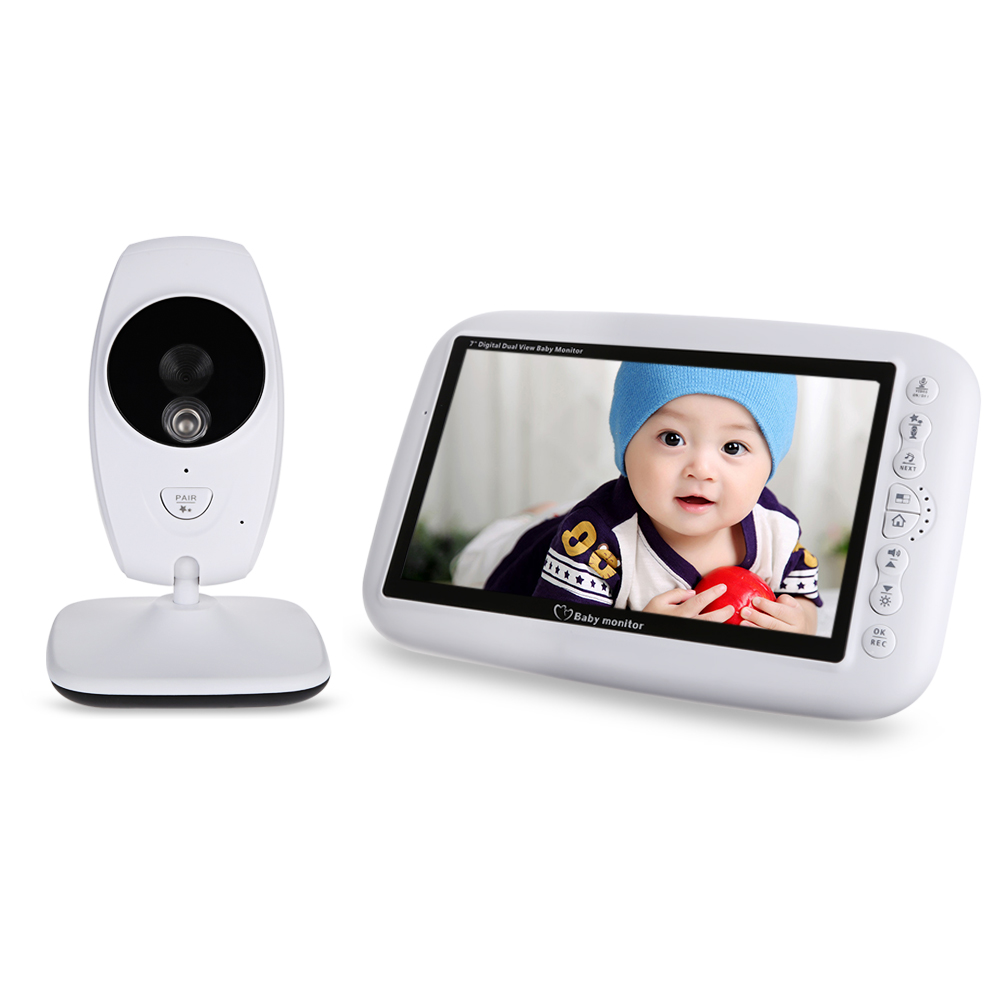 7.0 inch 2.4GHz Wireless TFT LCD Dual View Video Baby Monitor with Infrared Night Vision Newborn Baby Sleeping Video Monitors цена