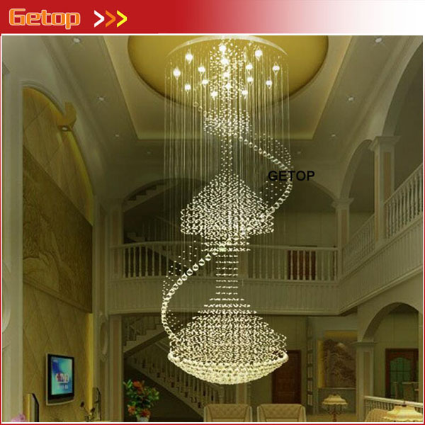 Modern Luxury Spiral Large Crystal Chandelier Round Pendant Lamp Fixture for Double Stairs GU10 LED Crystal Lights Free Shipping stylish bicycle lock and round pendant double sweater chains for women