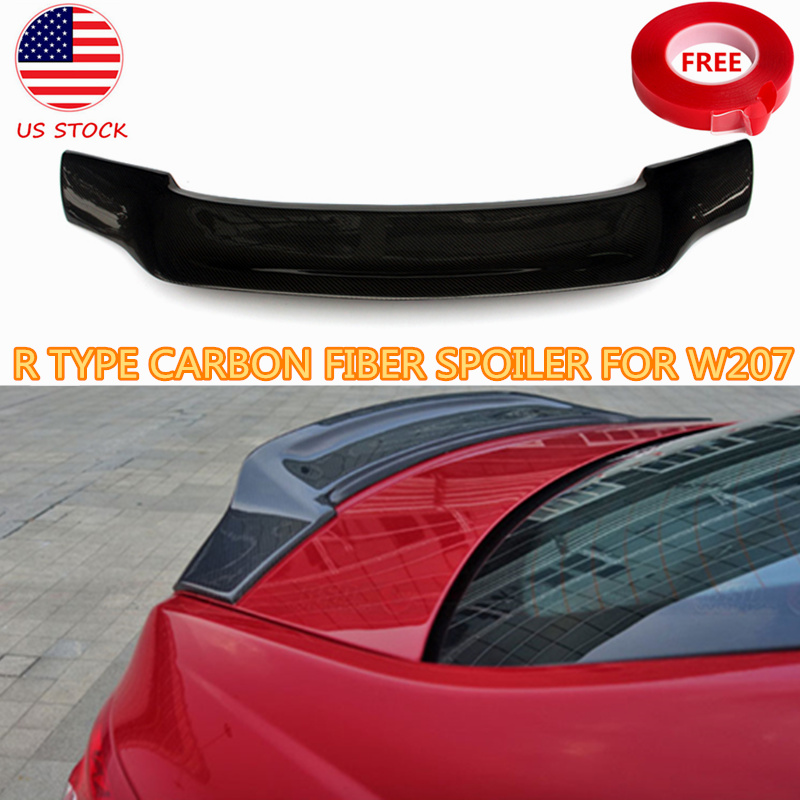 R Style Carbon Fiber Spoiler For <font><b>Mercedes</b></font> E Class W207 E200 E250 <font><b>E300</b></font> E350 2DR <font><b>Coupe</b></font> Rear Trunk Splitter Lip 2010-2016 US Stock image