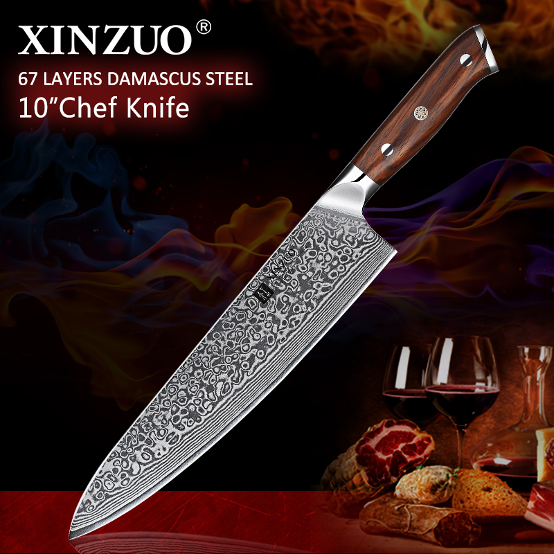 XINZUO 10 inch Chef Knives Damascus Steel Professional Gyotou Knife Kitchen Chef Accessories with Rosewood Handle