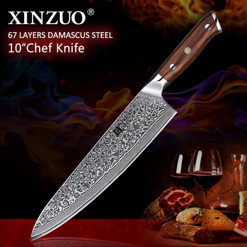 "XINZUO 10"" inch Chef Knives Damascus Steel Professional Gyotou Knife Kitchen Chef Accessories with Rosewood Handle Kitchen Tools"