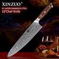 XINZUO 10 pulgadas cuchillos de Chef Damasco acero profesional Gyotou cuchillo cocina Chef accesorios con mango de Rosewood herramientas de cocina