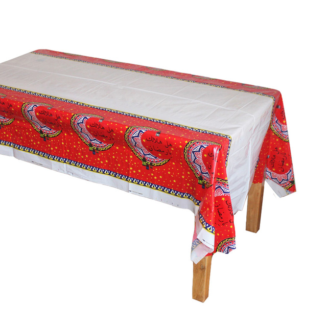 Disposable Plastic Table Cloths Eid Mubarak Ramadan Cover Tablecloth Waterproof For Moslem Ismdecoration 180