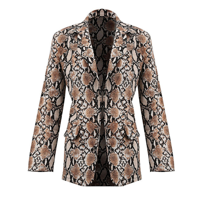 Women Snake Print Long Sleeve Suit Coat Blazer Biker Jacket Outwear Tops Women's Snake Print Blazer women's suit top women 1