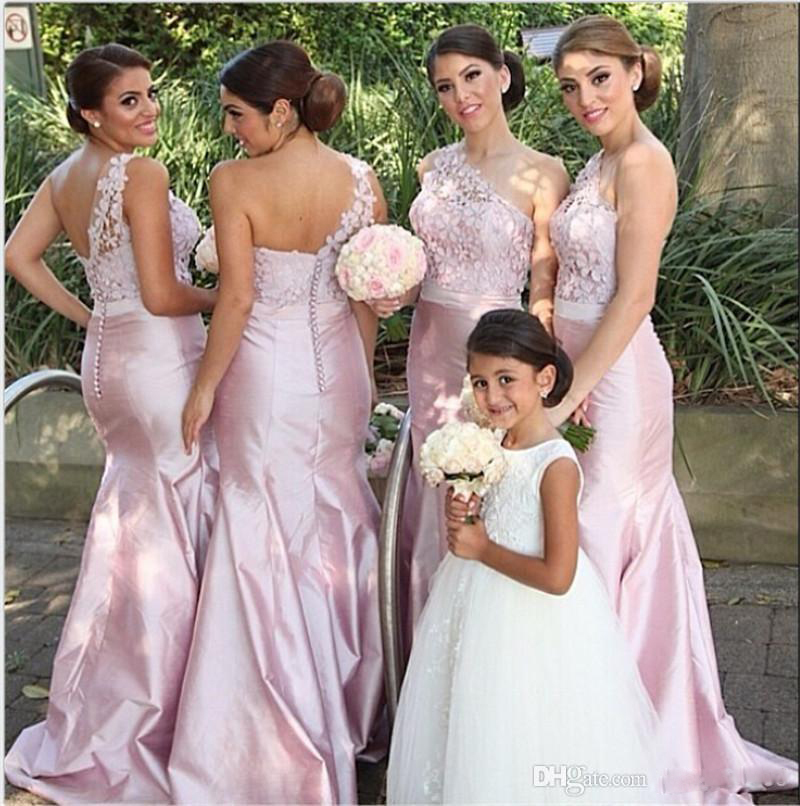 373858564ae Pink One Shoulder Long Bridesmaid Dresses Lace Taffeta Christmas Covered  Buttons Mermaid Bridal Party Gowns Arabic India 2015