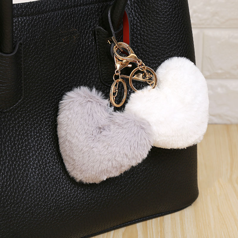 10 Cm Fluffy Fur Pompom Keychain Soft Lovely Heart Shape Pompon Faux Bunny Rabbit Fur Pom Poms Ball Car Handbag Key Ring Gift