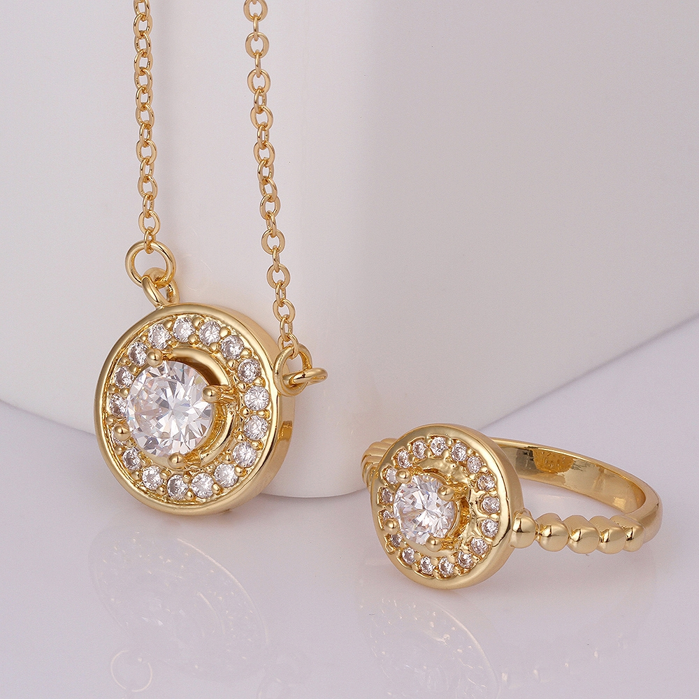 Новые модные женские Круглый комплект ювелирных изделий высокое качество  циркон Цепочки и ожерелья кулон и кольцо Модные украшения 265499feb0c