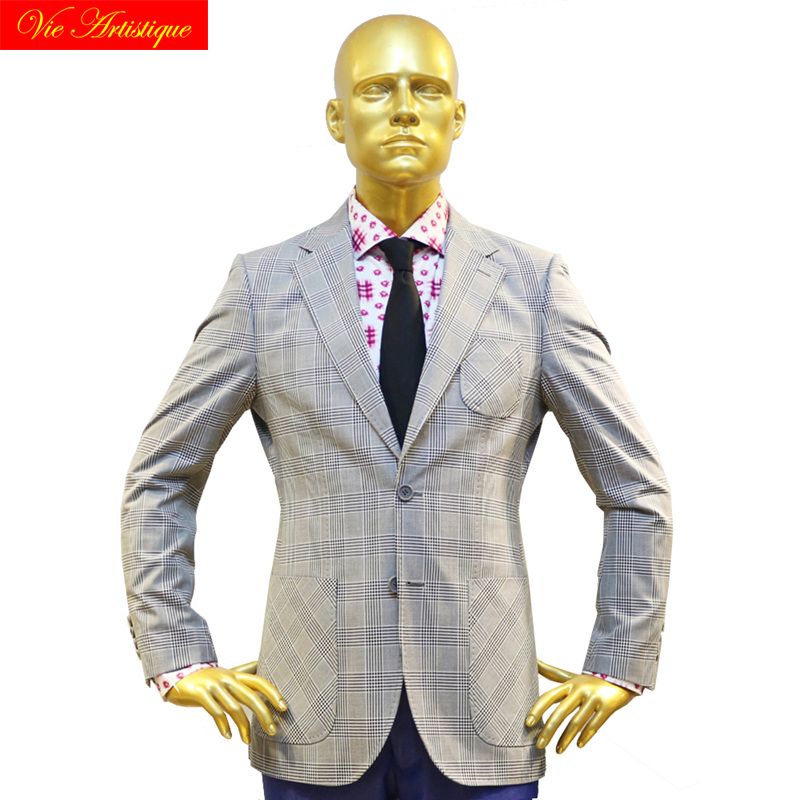 Custom Tailor Made Men's Bespoke Suits Business Formal Wedding Ware Bespoke 2 Piece (Jacket+Pants) Grey Whales Plaid Wool Slim