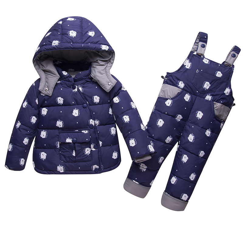 Winter Baby Boy Girl Down Jacket Suit Clothes Children Thicken Warm Coat Overalls Set Unicorn Print Infant Romper 6009 1-4Years calico print overalls