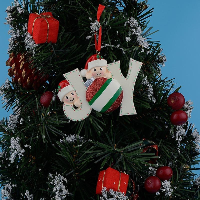 Joy Family Membri di 2 polyresin accenti lucidi personalizzati ornamenti per alberi di Natale per le decorazioni domestiche