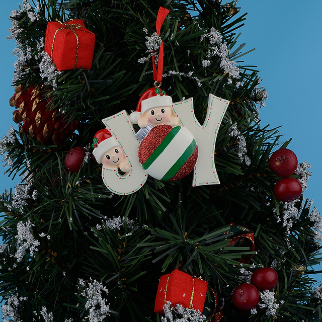 Us 9 68 Joy Family Members Of 2 Polyresin Glossy Accents Personalized Christmas Tree Ornaments For Home Decorations In Pendant Drop Ornaments From