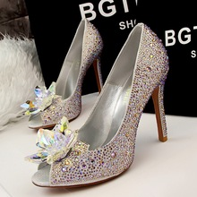 Free shipping fashion beautiful thin heels peep toe shoes women Rhinestone Flower pimps