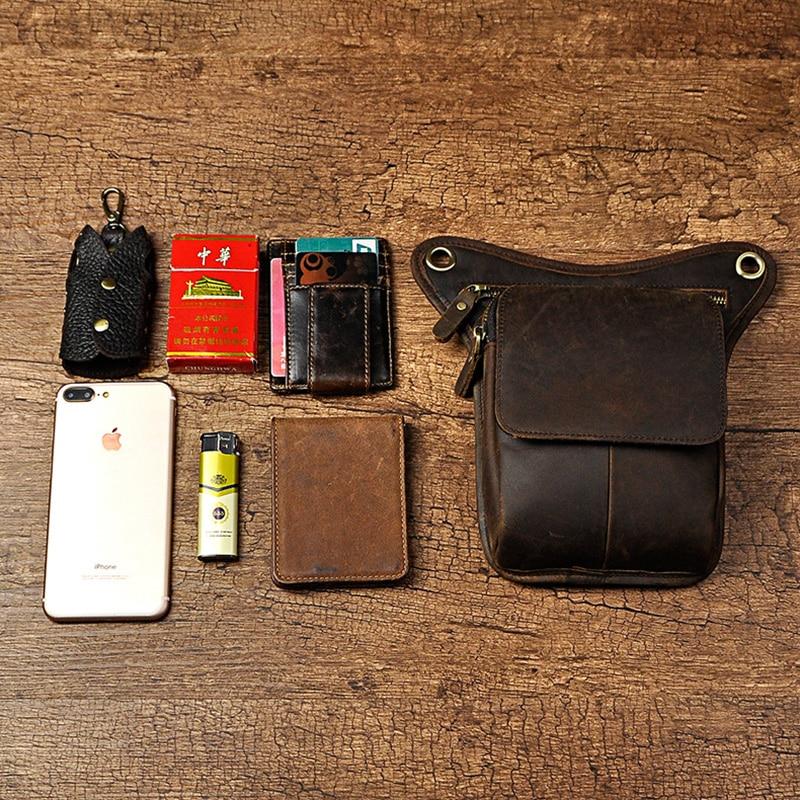 100% ægte læder mænd talje fanny taske rytter ben lår taske drop - Bæltetasker - Foto 4