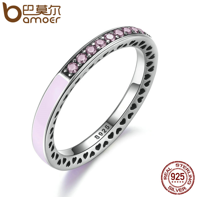 BAMOER 100% 925 Sterling Silver Radiant Hearts Light Pink Enamel & Clear CZ Finger Ring Women Mother's Day Jewelry PA7603