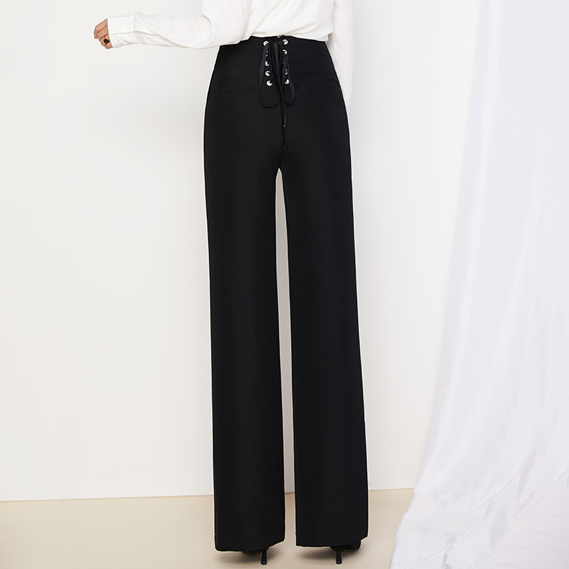 83f74341542d New High Waist Double Breasted Wide Leg Trousers For Women 2018 Fashion  Black Back Lace Up Bandage Pants OL Work Dress Long Pant-in Pants   Capris  from ...
