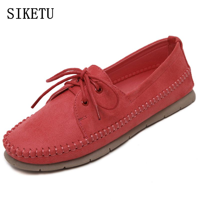 SIKETU 2017 Spring autumn New Women Casual Shoes Genuine Leather Women's Flat Shoes Female soft bottom  Comfortable Work Shoes muyang new 2017 women shoes genuine leather flats round toe bowtie soft comfortable flat shoes spring autumn casual female shoes