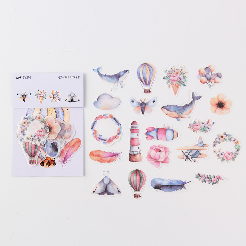 Hot Air Balloon Insect Mini Bag Bullet Journal Decorative Stationery Stickers Scrapbooking DIY Diary Album Stick