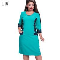 Women Casual Dress Plus Size 6XL 3 4 Sleeve Solid Lace Dress O Neck Vestidos Knee
