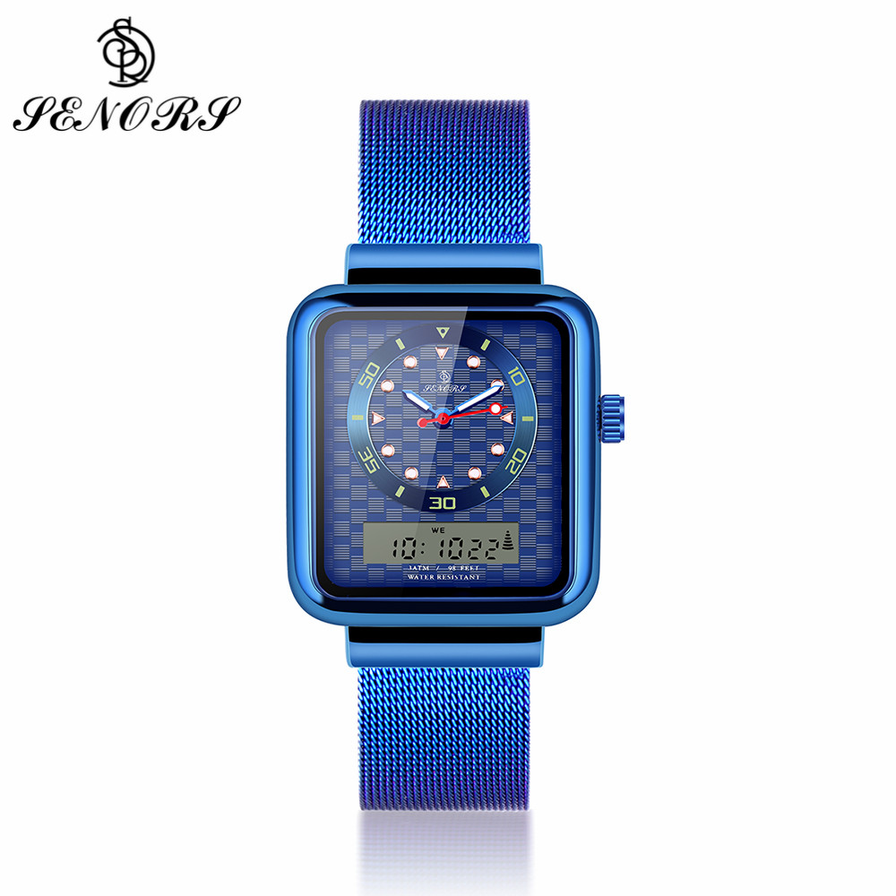 SENORS Luminous LED Quartz Watches for Men Dual Display Waterproof Outdoor Male Clock Square Dial Mesh Steel Strap Wristwatches