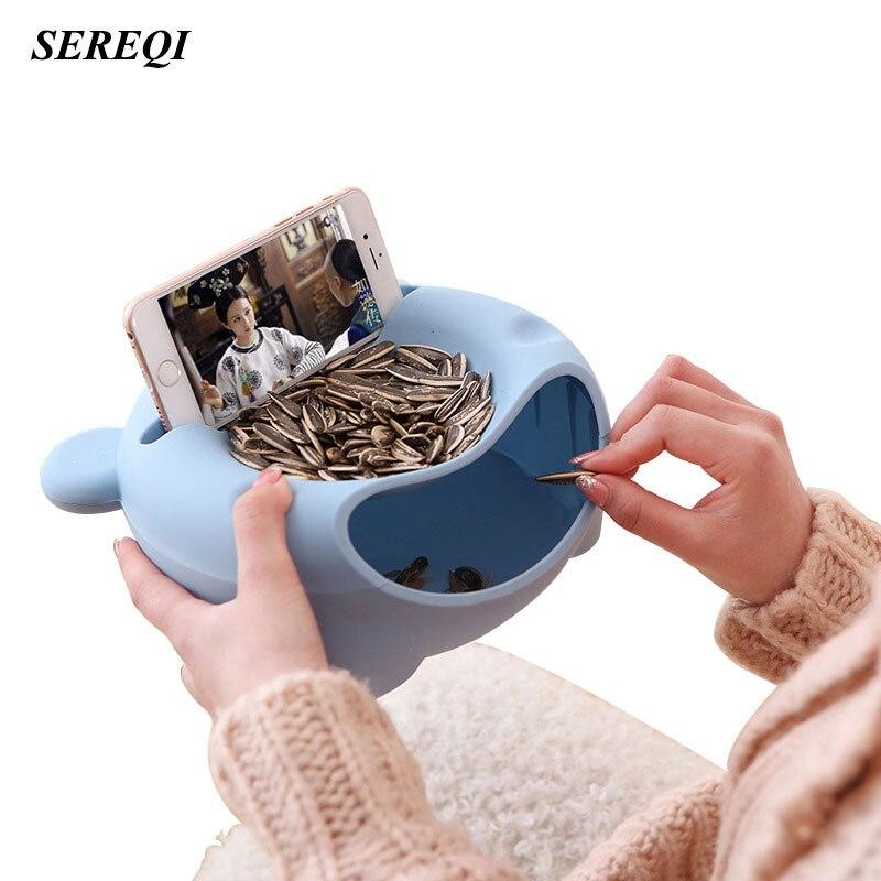 Sereqi двойной Слои Пластик медведь голову Форма закуски Еда коробка для хранения Высокое качество Desktop короче контейнер для хранения Организатор