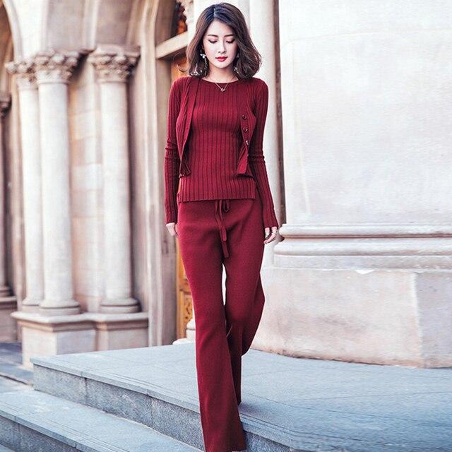 635f2da7f42 Трикотажные костюмы Для женщин Двойка комплект цвет красного вина Хлопковые  смеси одежда с длинным рукавом Длинные