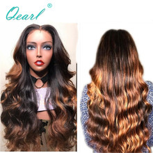 Human Hair Lace Front Wig with Baby Hairs 13x4 Ombre Highlights Color Middle Part 150% Density Wavy Peruvian Remy Hair Qearl цена 2017