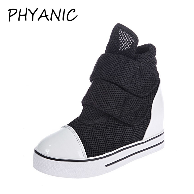 PHYANIC New 2018 Wedges High-Top Footwear Casual Elevator Shoes Female Canvas Shoes Wedge Shoes Woman Wholesale PHY3213
