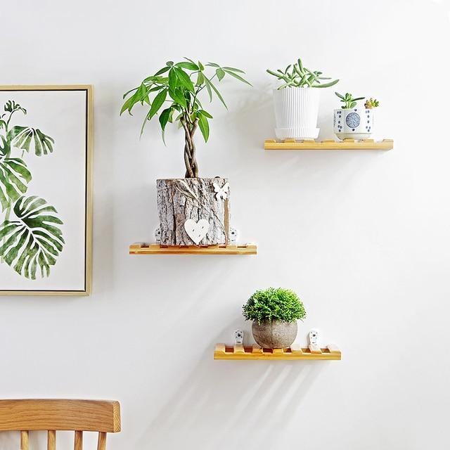 1 Pcs Floating Bamboo Shelves Wall Mounted Display Ledge Shelf With