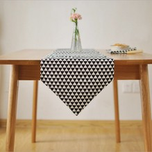 Modern Geometric Cotton Linen Black Table Cloth Mariage Wedding Party Home Decoration Table Runners 8027ZQ