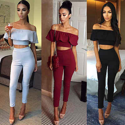 New Sexy  Women Casual Crop Top+ Long Pnats Bodycon Romper Jumpsuit Club Bodysuit