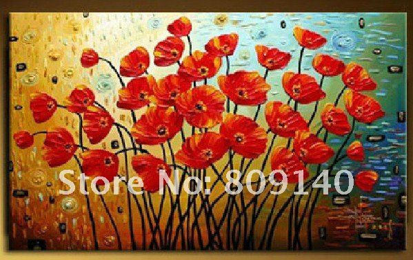 oil painting canvas Red Flower Beautiful Modern decoration high ...