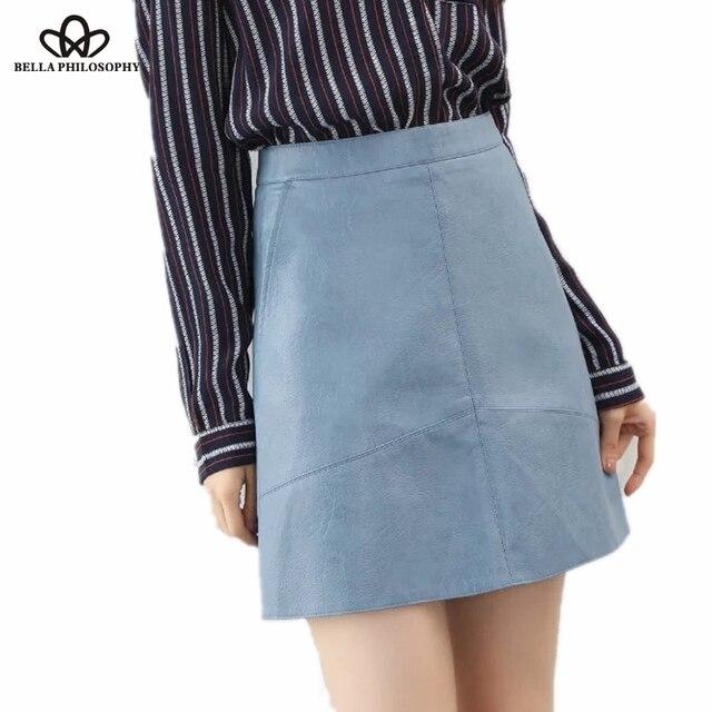 Bella Philosophy 2017 spring high waist PU faux leather women skirt pink yellow black green blue zipper real photo