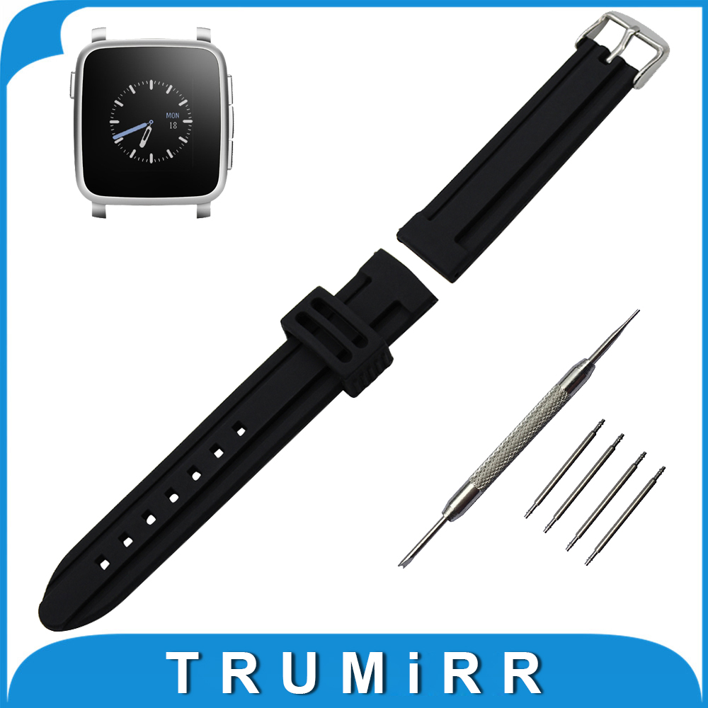 22mm Silicone Rubber Watch Band + Tool for Pebble Time / Pebble Time Steel Strap Pin Buckle Watchband Wrist Belt Bracelet Black nylon watch band 22mm for pebble time steel stainless pin buckle strap wrist belt bracelet black blue spring bar tool