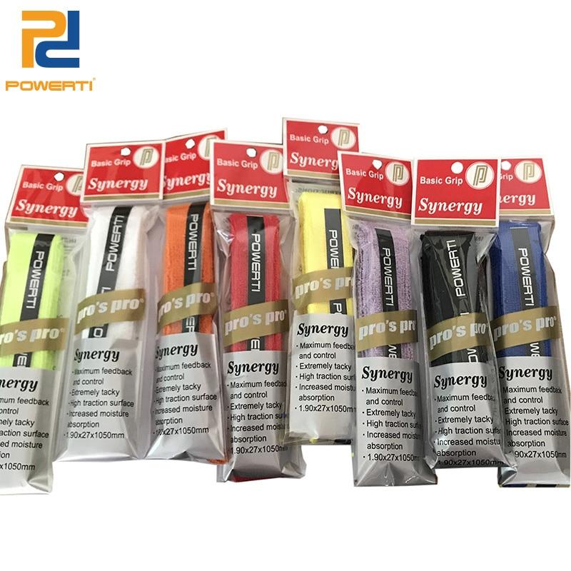 POWERTI 10pcs/lot Dry Tennis Racket Overgrip Tape Towel Glue Sweatbrand Badminton Racket Grip Tape Racquet