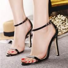 9f018a3717 2018 do sexo feminino sexy sandálias de festa de salto alto 11 cm cor pura  moda bombas sapatos de salto alto Fino simples sapato.
