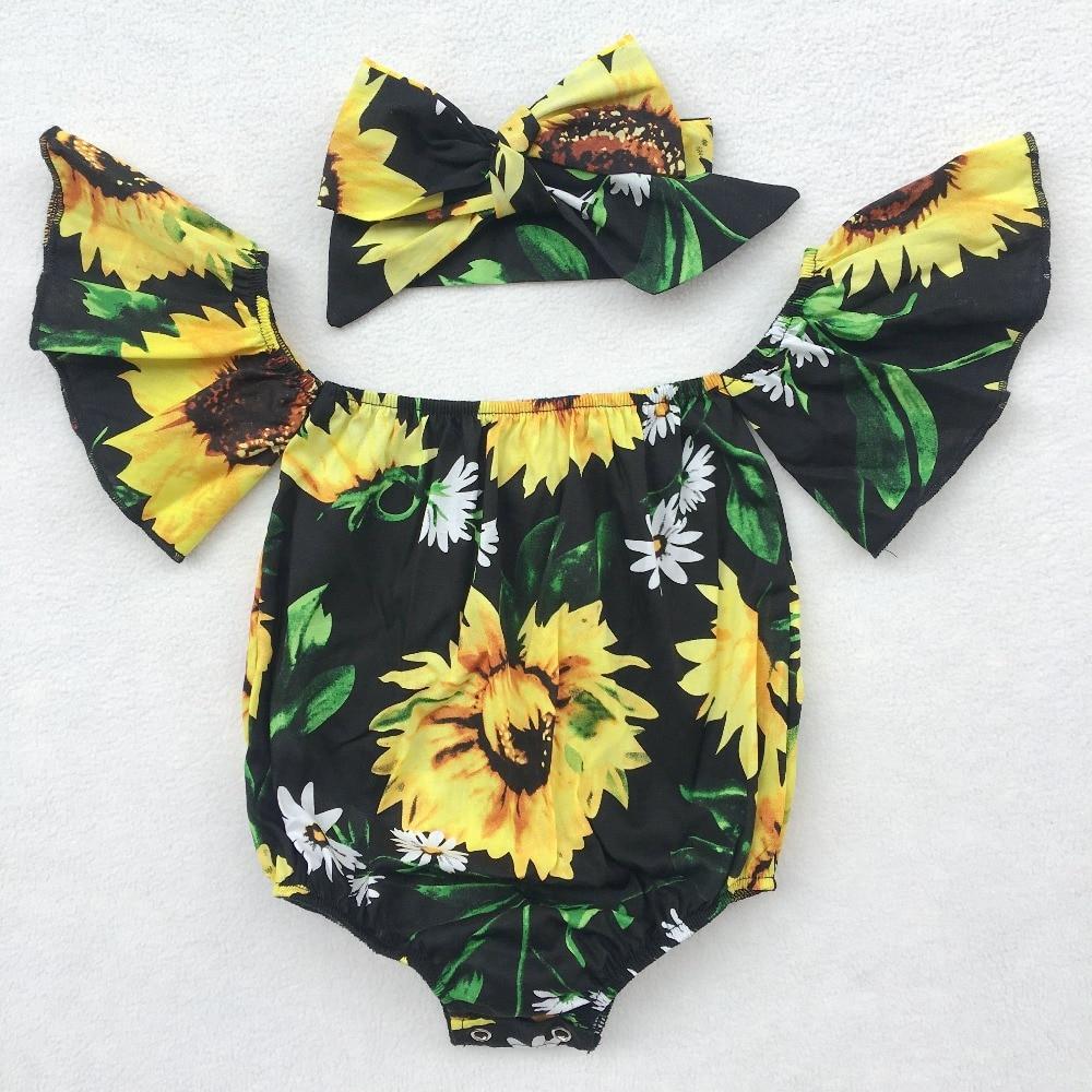 Newborn Sunflower Floral Romper Newborn Summer Romper Baby Swimsuit Summer Baby Photo Prop Off Shoulder Outfits Girls Playsuit