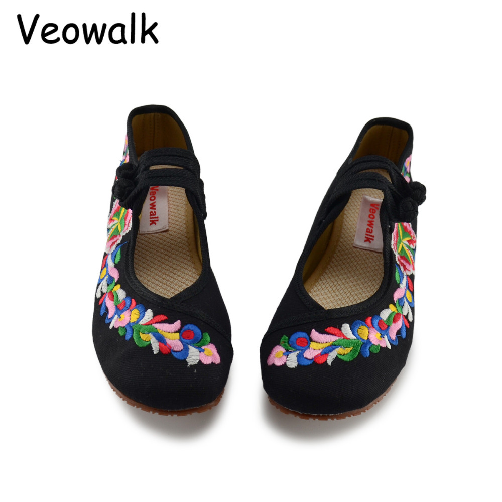 Veowalk Spring Autumn Woman Shoes Chinese Style Casual Flats For Women Colorful Flower Embroidered Dancing Shoes zapatos mujer new women chinese traditional flower embroidered flats shoes casual comfortable soft canvas office career flats shoes g006