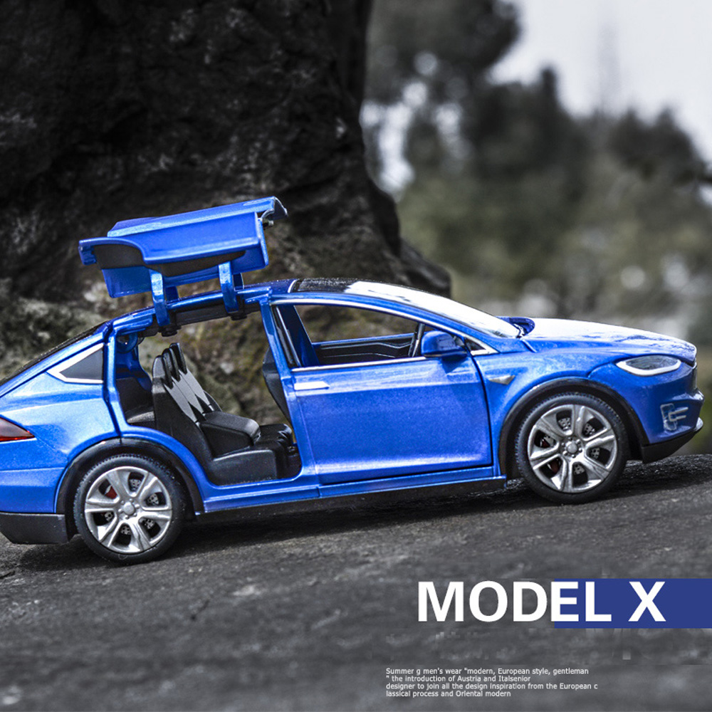 Tesla Model X S Alloy Car Metal Diecast Toy Vehicles Car With Pull Back Flashing Musical Gifts 1:32 Toy Car For Children Gifts