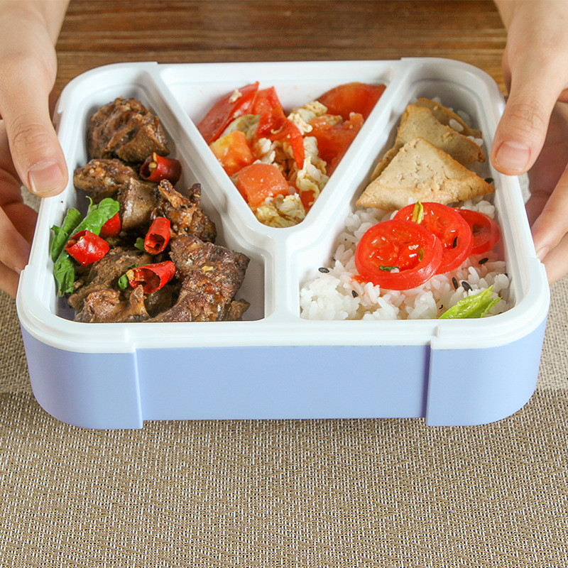 A Kitchen Is Launching An Express Lunch Service: 3 Grid Portable Lunch BoxSchool Office Microwave Bento