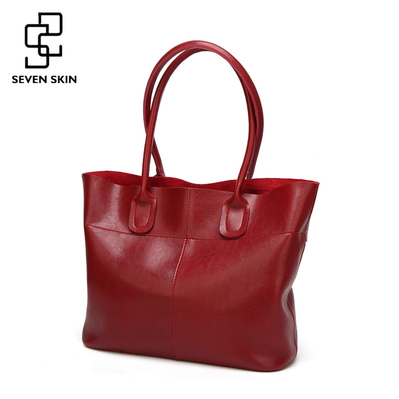 SEVEN SKIN Brand 2018 Top-Handle Women Shoulder Bags Fashion Solid Leather Women's Handbags Female Large Tote Bag bolsos mujer seven skin brand 2017 new women handbags solid pu leather bags women s shoulder bag female large casual tote bag bolsos mujer