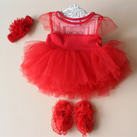 Baby Girl Baptism Dresses Wedding Dress 2 In 1 First Birthday Tutu Dress Red Tulle Party